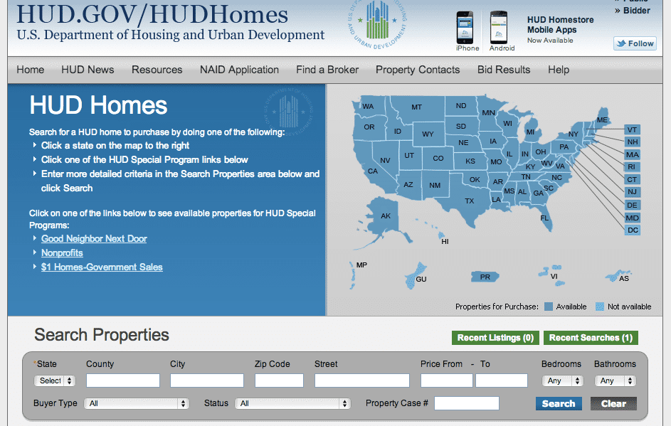 Image of HUD HomeStore Website